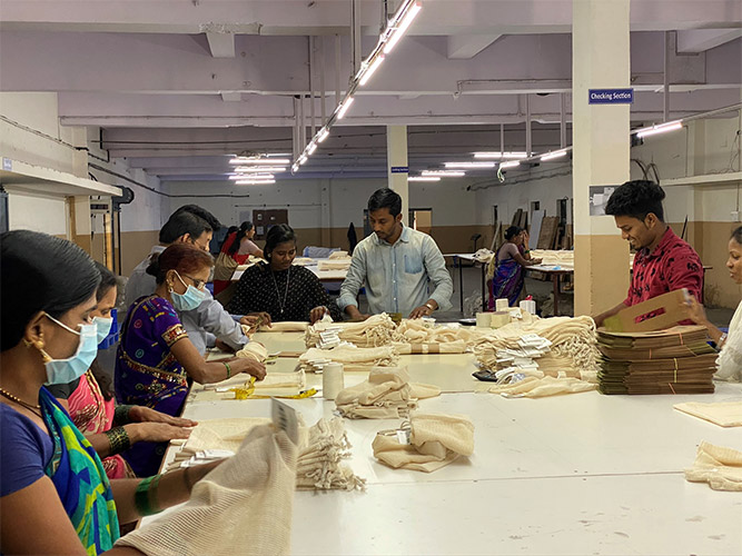 Controls Qualite usine fabrication sac coton