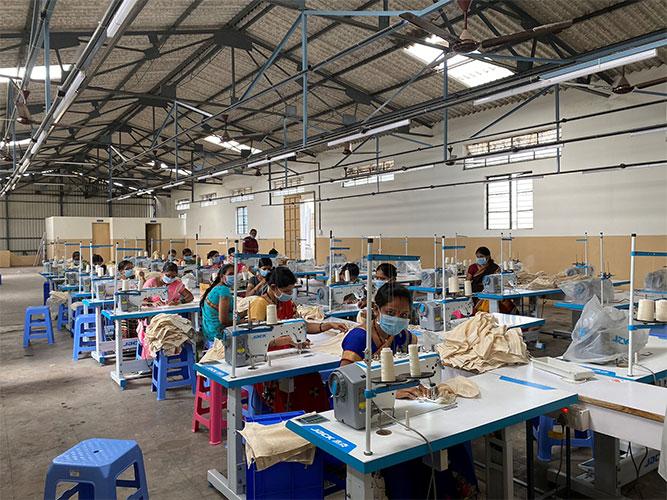 Werkstatt Herstellung Fairtrade Bio-Baumwolltasche
