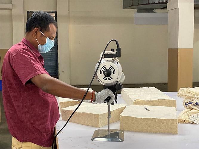 cutting cotton fair trade organic bag
